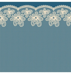 Beige seamless flower lace border on blue backgrou vector