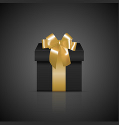 Black square gift box with golden ribbon and bow vector image