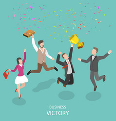 business victory flat isometric concept vector image