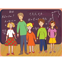 Children at school with teacher vector image