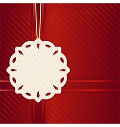 Christmas snowflake label on red vector image