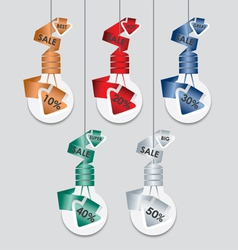 Collection of sale discount Light bulb style vector image