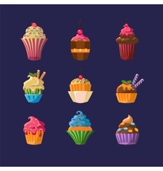 Colorful cupcakes collection vector