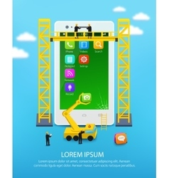 Construction mobile phone smartphone user vector
