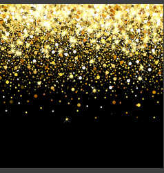 Falling golden particles on a black background vector