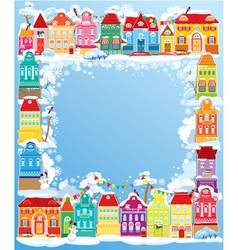 Frame with decorative colorful houses christmas an vector