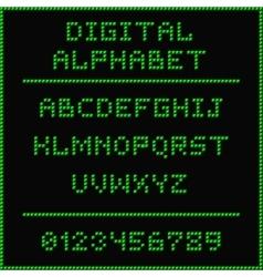 Green digital alphabet vector image vector image