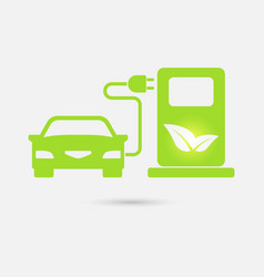 Green electric car charging point icon vector