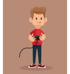 Guy mad standing with game controller vector