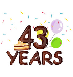 happy birthday forty three 43 year vector image vector image