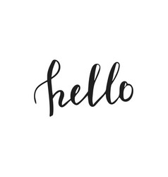 hello hand lettering greeting card with modern vector image vector image