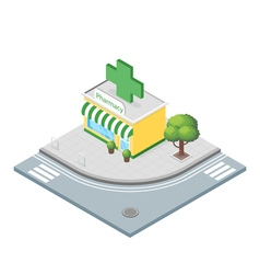 Isometric 3d of pharmacy vector image