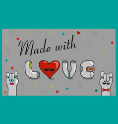 made with love vintage card vector image