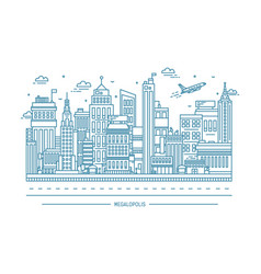 megalopolis big city life contour line art vector image