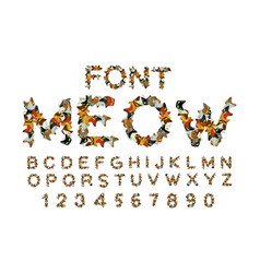 meow font cat alphabet catlike abc letters of pet vector image vector image