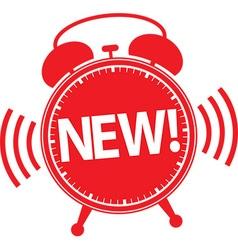 New alarm clock red icon vector
