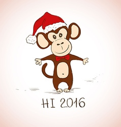 New year greeting card with funny monkey vector