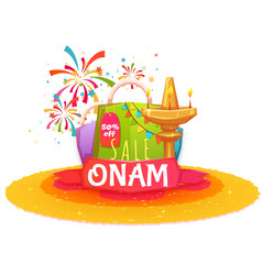 Onam holiday sale banner with ribbon vector