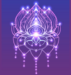 Outline lotus with boho pattern and bright spark vector