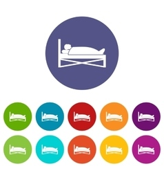 Patient in bed in hospital set icons vector image vector image