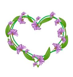 Purple crape myrtle flowers in a heart shape vector