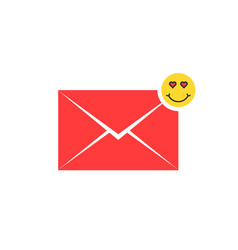 red love letter icon with emoji vector image vector image