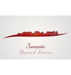 Sarasota skyline in red vector