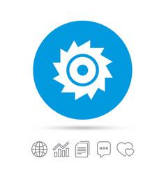 Saw circular wheel sign icon cutting blade vector