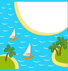 sea background with two boats between islands vector image vector image