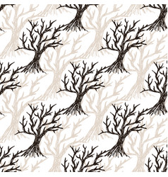 Seamless pattern tree without leaves halloween vector