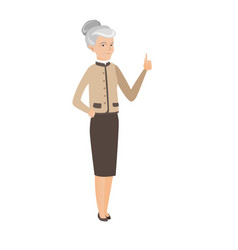 Senior caucasian business woman giving thumb up vector