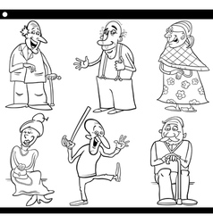 seniors set cartoon coloring book vector image vector image