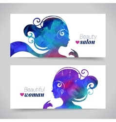 Set of banners with acrylic beautiful girl vector