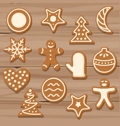 set of christmas cookies on wooden background vector image vector image