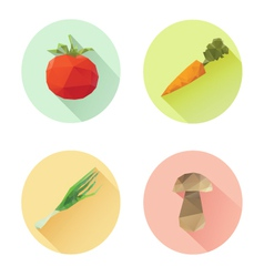Set of flat design vegetables icons isolated vector