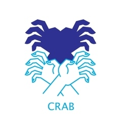 Shadow hand puppet crab vector