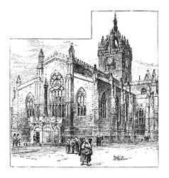 St giles cathedral edinburgh vintage vector