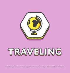 traveling colour icon with globe vector image vector image