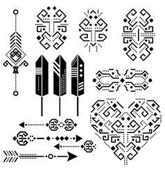 Tribal aztec stencil elements vector