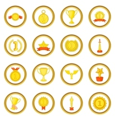 Trophy award set cartoon style vector