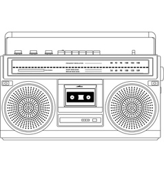 Vintage cassette recorder ghetto blaster boombox vector image vector image
