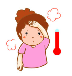 Woman got fever high temperature cartoon vector