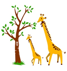 Tree and giraffe vector