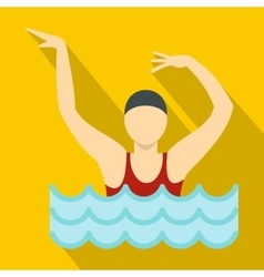 Dancing figure in a swimming pool icon flat style vector