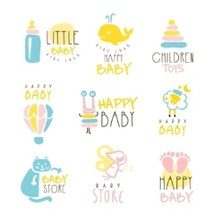 Kids shop promo signs series of colorful vector