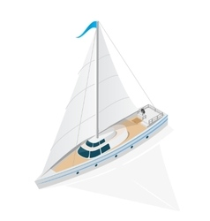 Sailing ship yacht isometric view vector