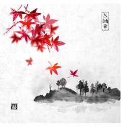 red japanese maple trees and island with trees vector image