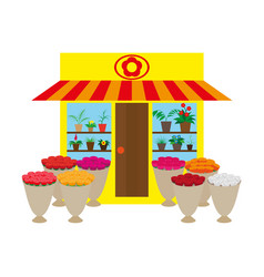 A flower shop with flowers vector