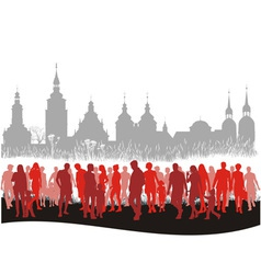 Group of people walking vector