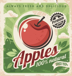 Vintage apple poster vector image